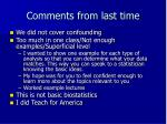 comments from last time