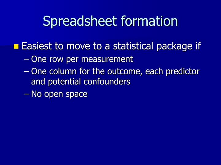 Spreadsheet formation