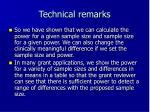 technical remarks