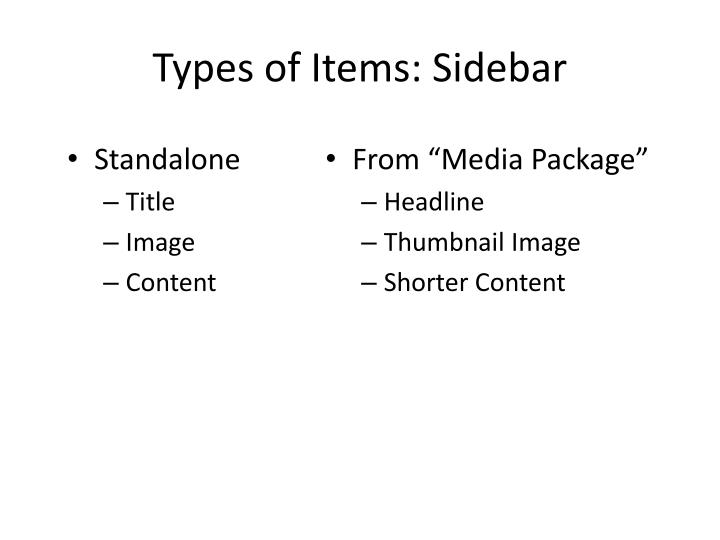 Types of Items: Sidebar