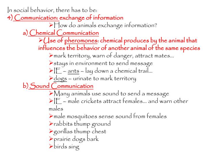 In social behavior, there has to be: