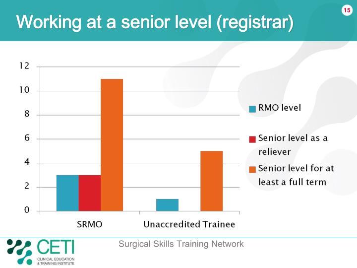 Working at a senior level (registrar)