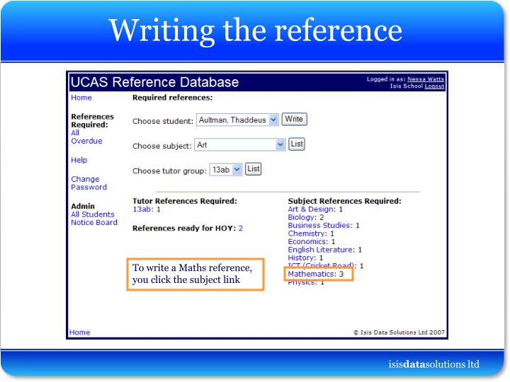 Writing the reference