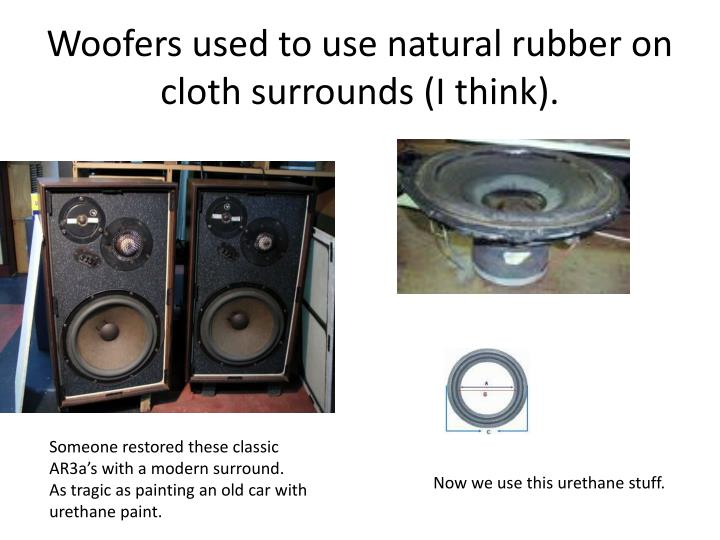 Woofers used to use natural rubber on cloth surrounds (I think).