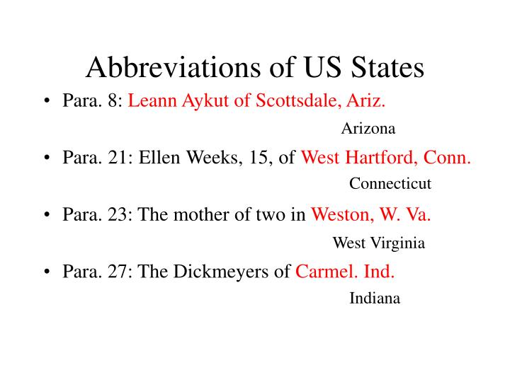 Abbreviations of US States
