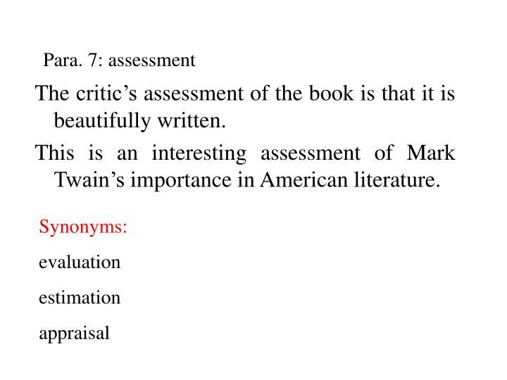 Para. 7: assessment