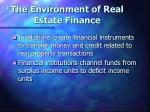 the environment of real estate finance