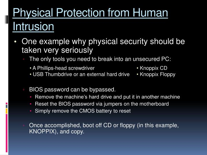 Physical protection from human intrusion