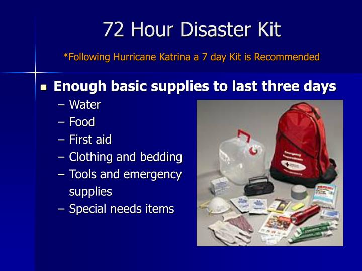 72 Hour Disaster Kit
