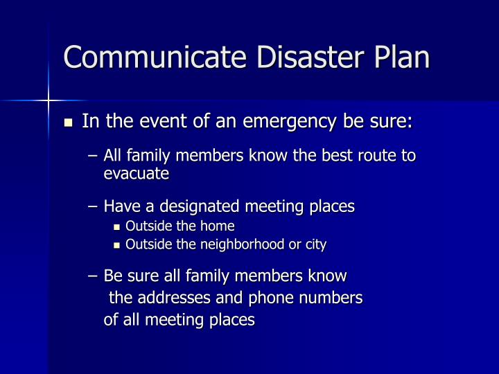 Communicate Disaster Plan