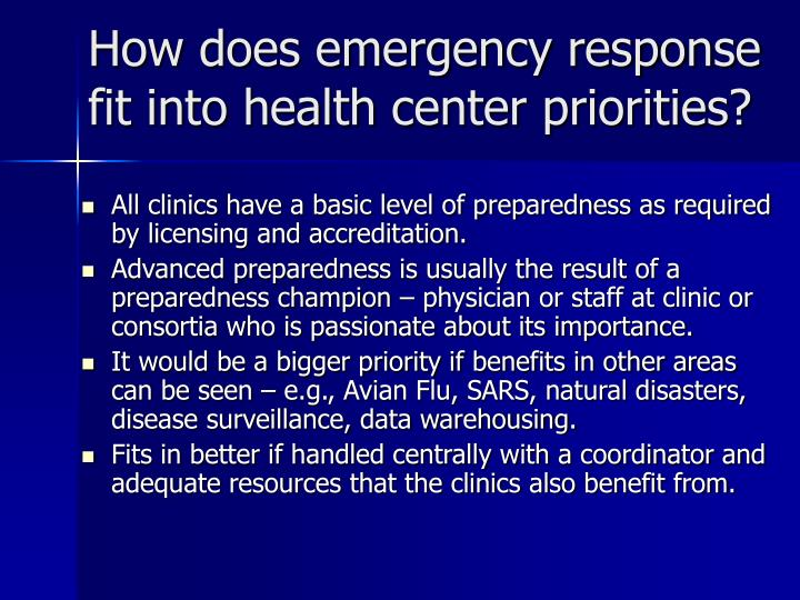 How does emergency response fit into health center priorities?
