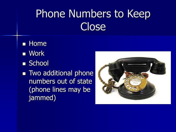 Phone Numbers to Keep Close