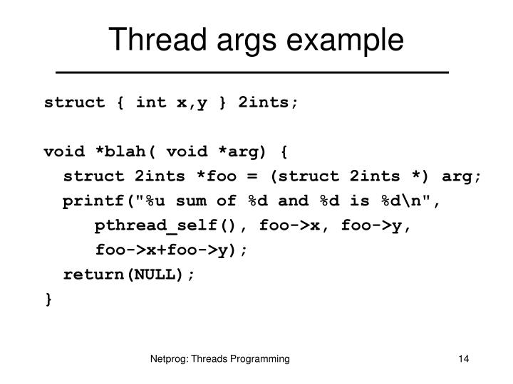 Thread args example