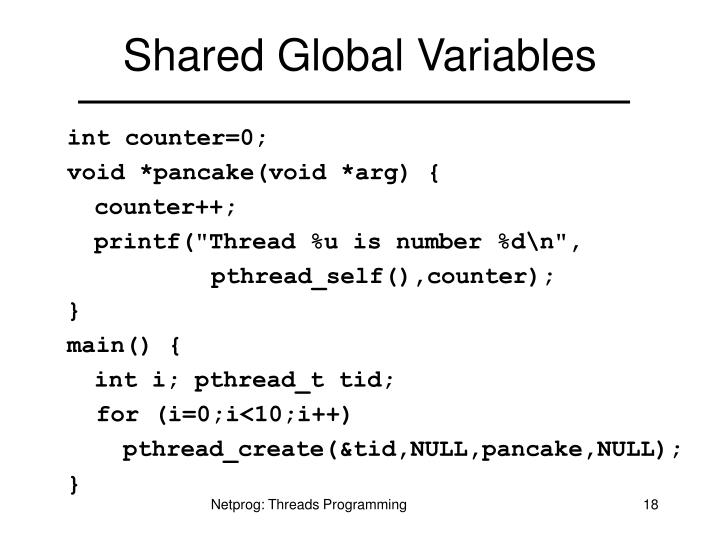 Shared Global Variables