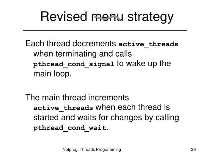Revised menu strategy