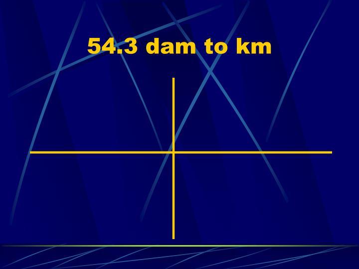 54.3 dam to km