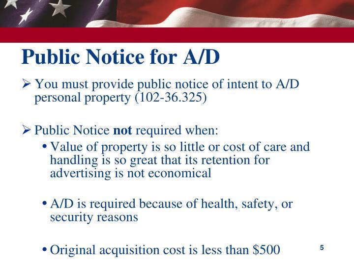 Public Notice for A/D