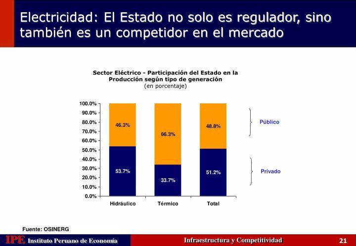 Sector Eléctrico - Participación del Estado en la Producción según tipo de generación