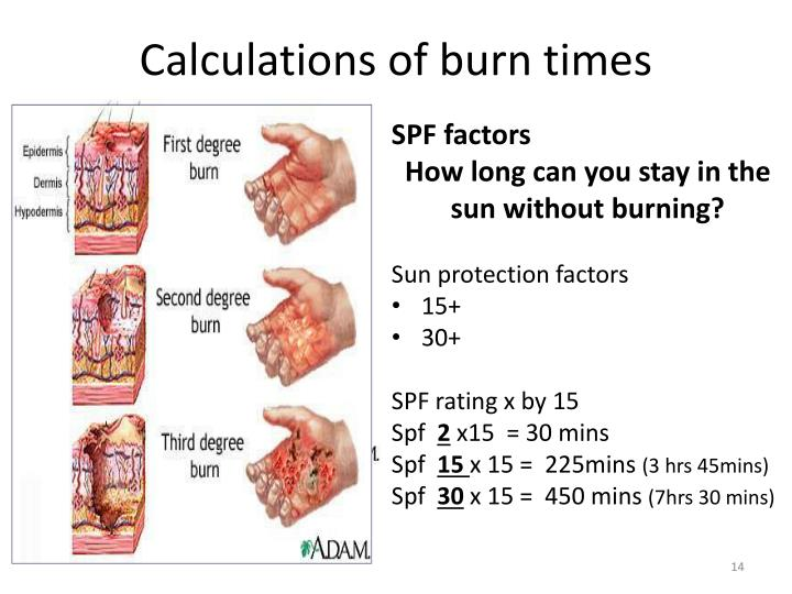 Calculations of burn times