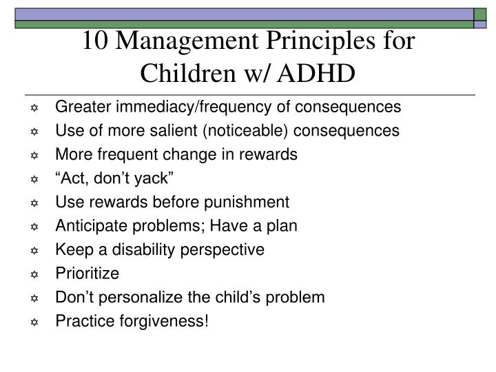 10 Management Principles for Children w/ ADHD