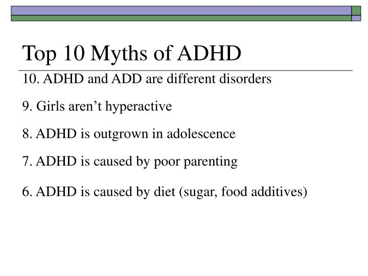 Top 10 Myths of ADHD