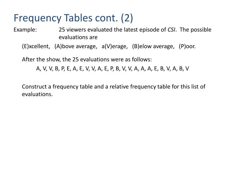 Frequency Tables cont. (2)