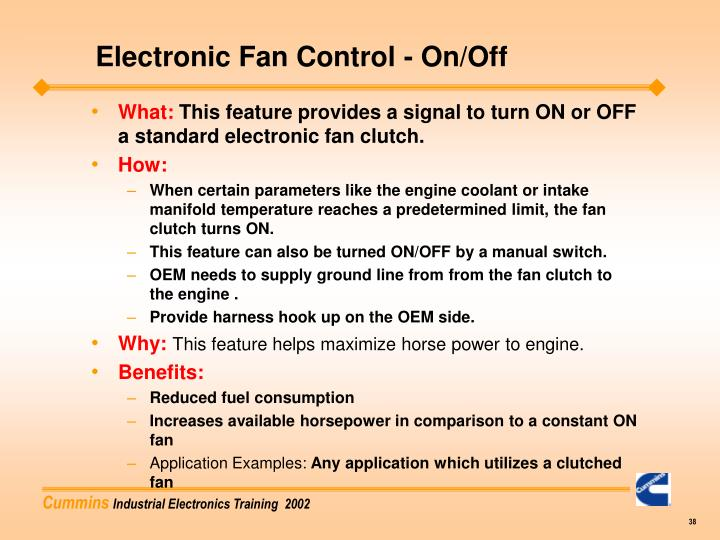 Electronic Fan Control - On/Off