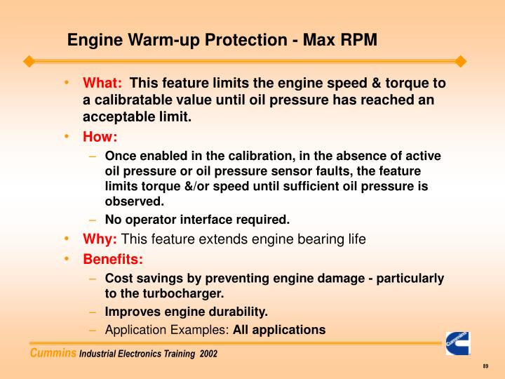 Engine Warm-up Protection - Max RPM