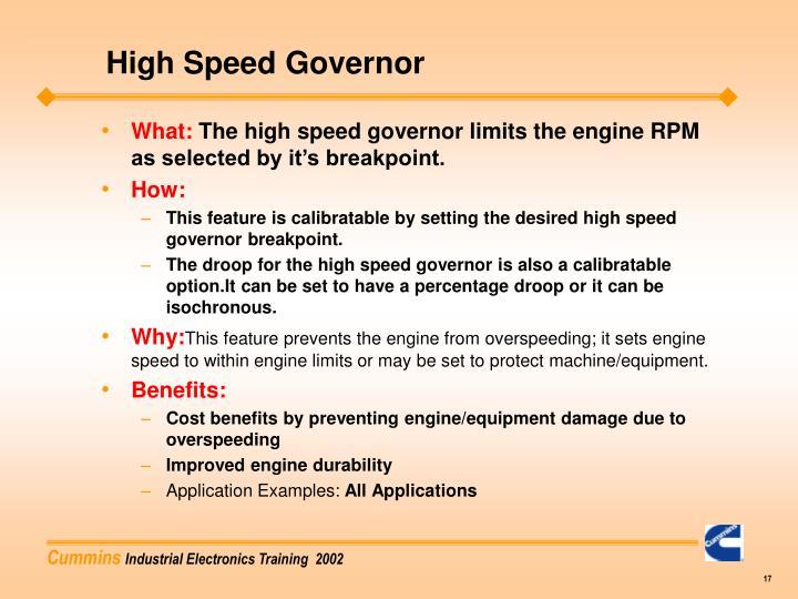 High Speed Governor