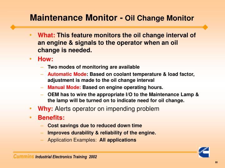 Maintenance Monitor -