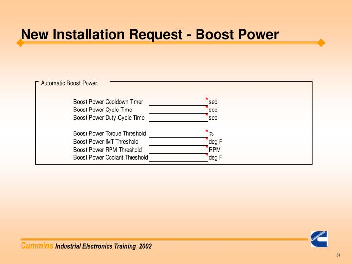 New Installation Request - Boost Power