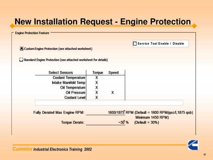 New Installation Request - Engine Protection