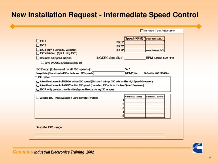 New Installation Request - Intermediate Speed Control