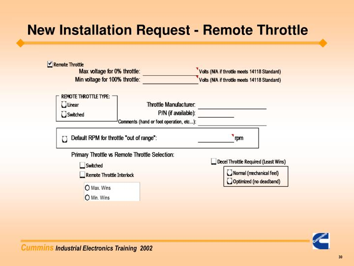 New Installation Request - Remote Throttle