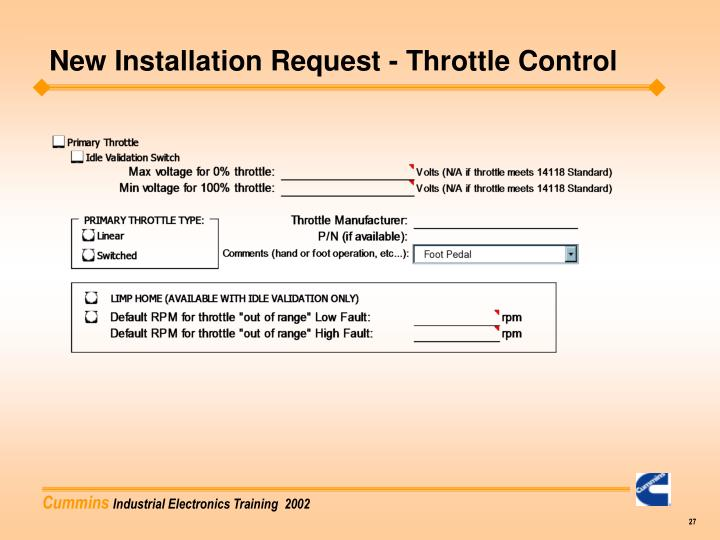 New Installation Request - Throttle Control