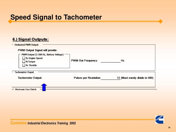Speed Signal to Tachometer