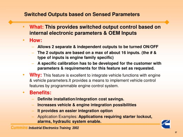 Switched Outputs based on Sensed Parameters