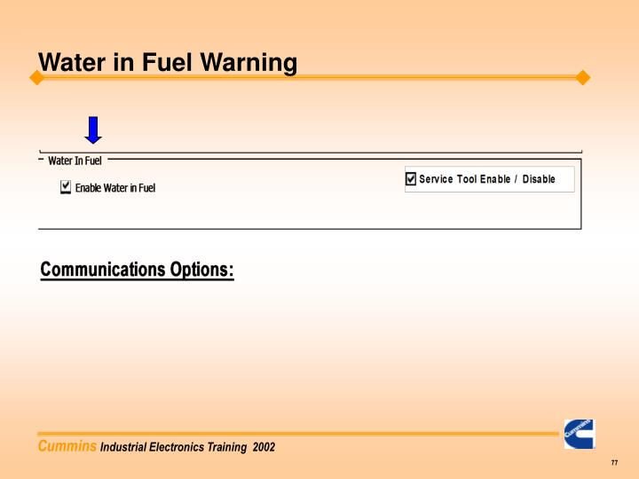 Water in Fuel Warning