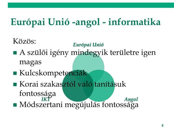 Európai Unió -angol - informatika