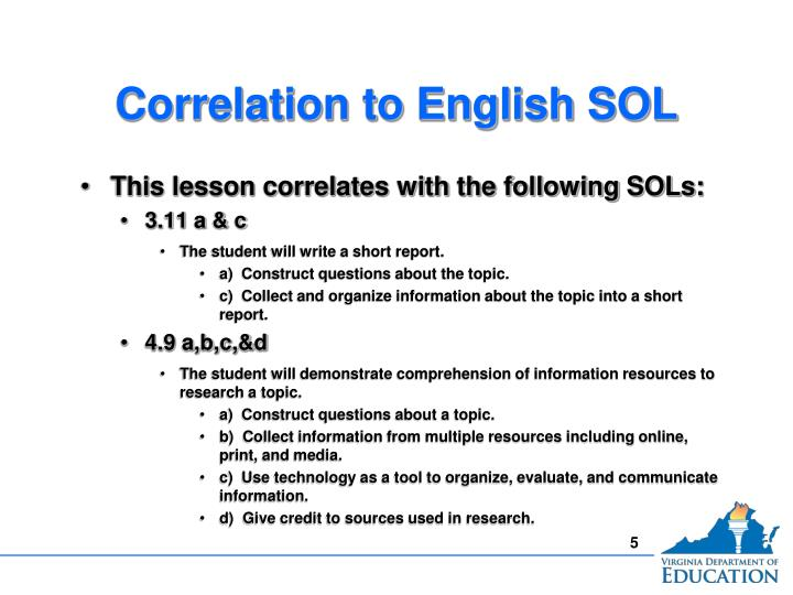 Correlation to English SOL