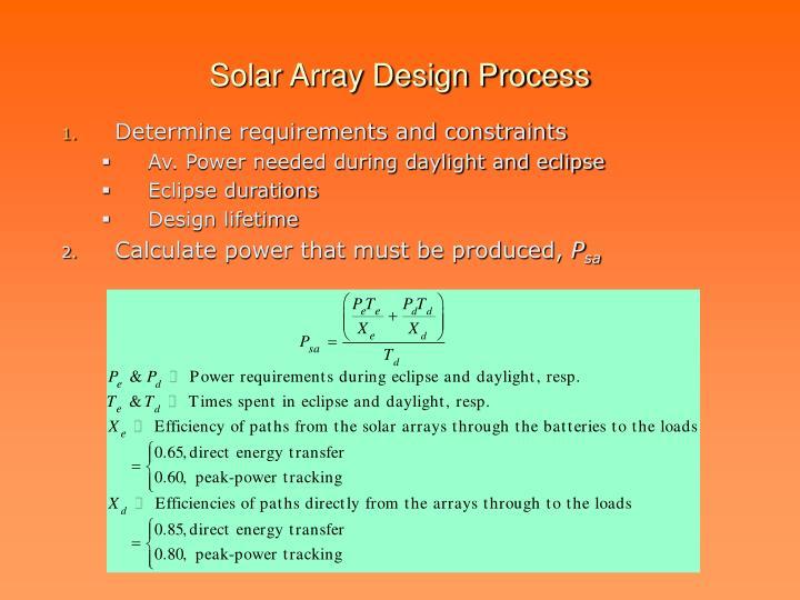 Solar Array Design Process