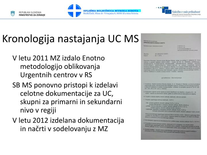 Kronologija nastajanja UC MS