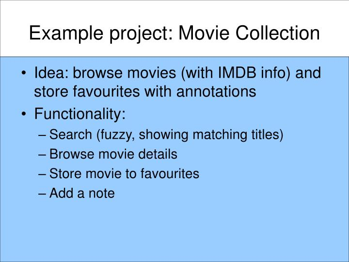 Example project: Movie Collection
