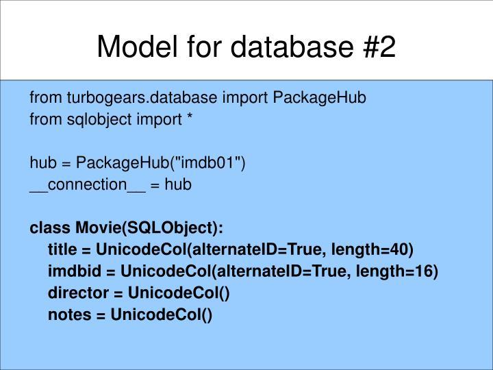 Model for database #2