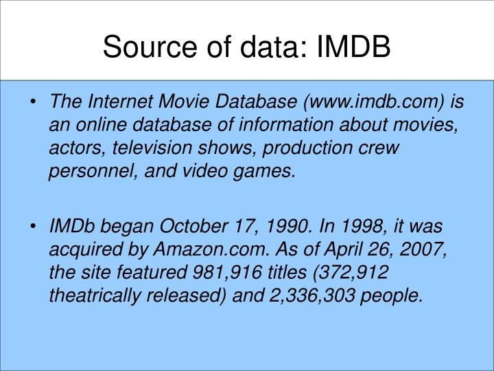 Source of data imdb