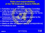 roles and responsibilities of the tir executive board tirexb