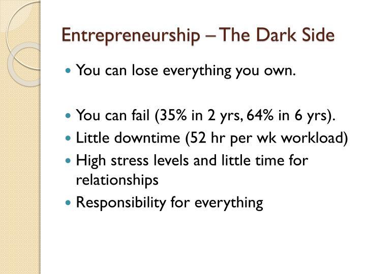 Entrepreneurship – The Dark Side