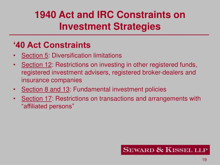 1940 Act and IRC Constraints on Investment Strategies