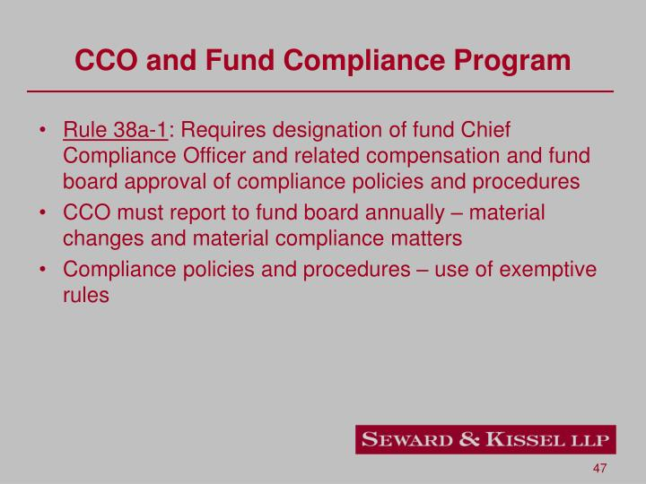 CCO and Fund Compliance Program