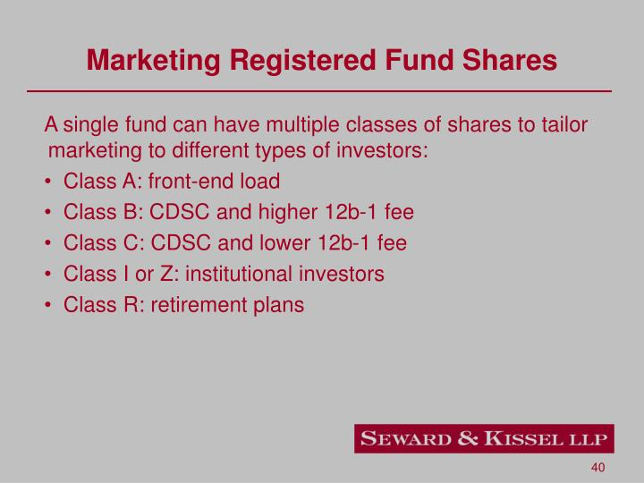 Marketing Registered Fund Shares